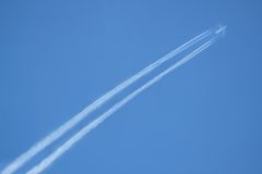 Plane. Shot of a plane high in the skies Stock Photo