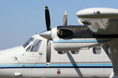 Plane. Front of a plane and propeller Royalty Free Stock Photo