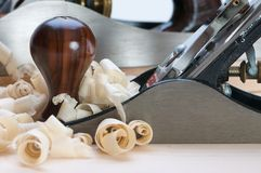 Plane. A hand plane and wood shavings Stock Images