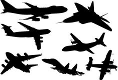 Plane. A collection of eight plane silhouettes from different angles Royalty Free Stock Images