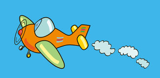 Plane. Funny illustration that represents a plane colored flying in the sky Royalty Free Stock Photos