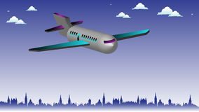 Plane above the city Royalty Free Stock Photography