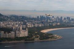 Plane above Rio de Janeiro, Brazil Royalty Free Stock Photos