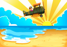 A plane above the sea. Illustration of a plane above the sea royalty free illustration