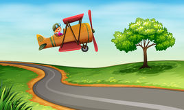 A plane above the winding road Royalty Free Stock Photography