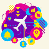 Plane on abstract colorful spotted background with different ico Stock Image