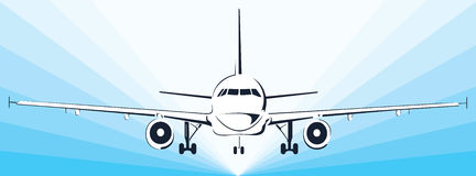 Plane abstract lines vector logo. Vector illustration Stock Photos