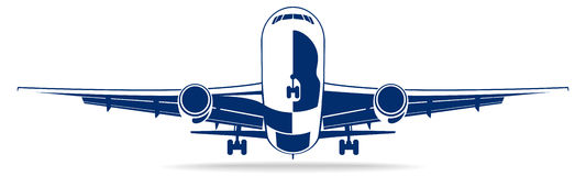 Plane abstract lines vector logo. Vector illustration Stock Images