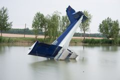 Plane accident. In a lake Stock Image