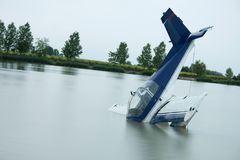 Plane accident. In a lake Stock Images
