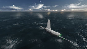 Plane accident. In a ocean 3d render Stock Photos