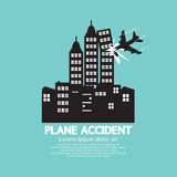 Plane Accident With Skyscrapers Royalty Free Stock Images