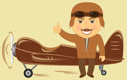 Plane with afro american pilot showing thumb up Stock Image