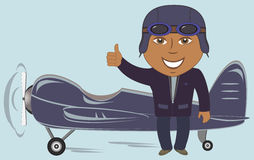 Plane with afro american pilot showing thumb up Stock Photos