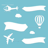 Plane, air balloon and helicopter flying Stock Photo