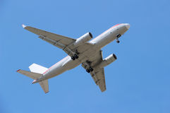 Plane. Air  plane flying in blue sky Royalty Free Stock Photos