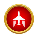Plane in air icon, simple style. Plane in air icon in simple style in red circle. Fly symbol Royalty Free Stock Photography