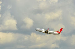 Plane in the air. Turkish Airlines Flight, Istanbul-Turkey Royalty Free Stock Image