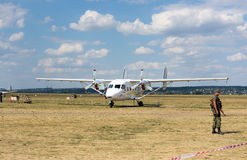Plane on airfield at Kharkiv airshow Royalty Free Stock Images