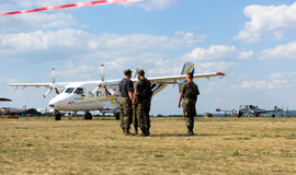 Plane on airfield at Kharkiv airshow Royalty Free Stock Photo