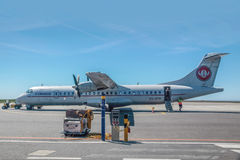 Plane of the airline Cimber Sterling on Bornholm Stock Photo