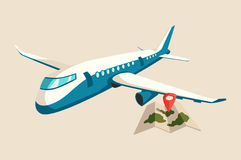 Plane or airplane above map of islands with marker. Jet or aircraft flying in sky with turbine on airways. Commercial airliner logo or flight banner. Perfect royalty free illustration