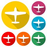 Plane and airplane icon or logo, color set with long shadow royalty free illustration