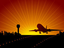 Plane and airport Royalty Free Stock Photo
