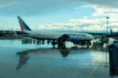 Plane at the airport. Bad weather, hurricane Stock Photo