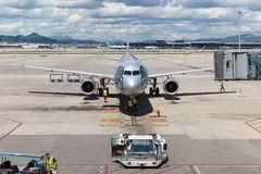 Plane at the airport of Barcelona in Spain Royalty Free Stock Photo