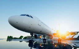 Plane at the airport. daylight. Business and travel concept. 3d rendering. Plane at the airport. daylight. Business and travel concept. 3d rendering Royalty Free Stock Photo