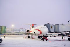 plane on airport Domodedovo Stock Photography