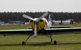 Plane at the airport grassyaircraft Stock Photos