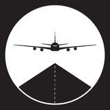Plane or airport icon in black and white Royalty Free Stock Images