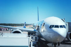 The plane at the airport on loading Stock Images