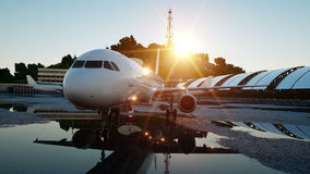 Plane at the airport. morning sunrise. Travel and business concept stock footage