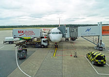 Plane at the airport in Nuremberg Royalty Free Stock Images