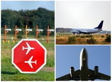 Plane and airport picture collection Royalty Free Stock Photo