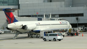 Plane in an airport. Picture taken in an airport in USA Stock Photography