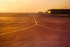 Plane in airport runway stock photo