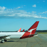 Plane, Airport transport flying with Qantas, 767. Flight of the quantas Airbus Melbourne to Perth, Sydney in Australia, Airport plane 767 Stock Photo