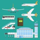 Plane airport transport symbols flat design illustration station concept air port symbols departure luggage plane stock illustration
