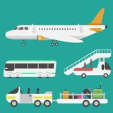 Plane airport transport symbols flat design illustration station concept air port symbols departure luggage plane Royalty Free Stock Photos