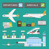 Plane airport transport symbols flat design illustration station concept air port symbols departure luggage plane Royalty Free Stock Photography