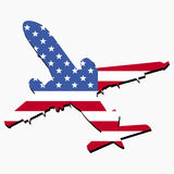 Plane with American flag. Plane silhouette with American flag illustration Royalty Free Stock Image