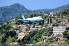 Plane approaching Corfu airport. Kanoni peninsula, Corfu island, Ionian Sea, Greece. Plane approaching Corfu airport. Ioannis Kapodistrias, Kerkyra royalty free stock photos