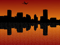 Plane arriving in Baltimore. At sunset illustration Stock Image