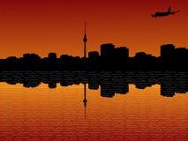 Plane arriving in Berlin. At sunset illustration Stock Image