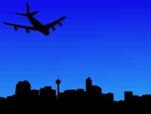 Plane arriving in calgary. Four engine plane arriving in calgary illustration Stock Photo