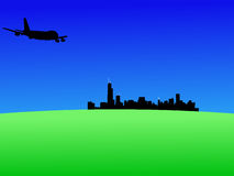 Plane arriving in Chicago. Four engine plane flying towards Chicago Royalty Free Stock Photography